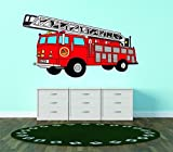 Top Selling Decals - Prices Reduced : Best Selling Cling Transfer : Red Firetruck Firefighting Wall Sticker Size : 16 Inches X 32 Inches - 22 Colors Available