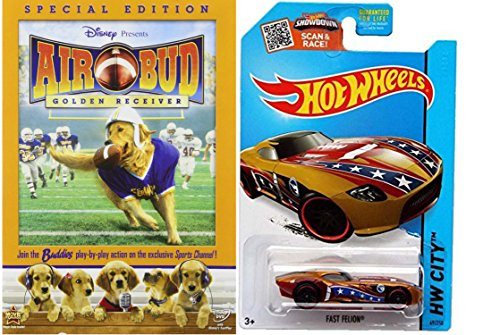 Air Bud: Golden Receiver Special Edition w/ Hot Wheels Treasure Hunt Fast FeLion die-cast car Football Collection -