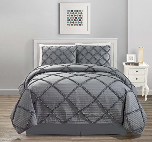 All American Collection New 4pc Diamond Pleated Ruffle Bedspread/Quilt Set with Bedskirt (King Size, Grey)