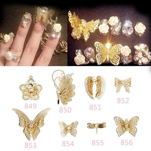 Pukido Japan Style 10pcs 3D Champagne Butterfly Flower Charm Decorations Glitter Alloy Metal Jewelry Rhinestones for Nail Art Studs - (Color: 856 10pcs)