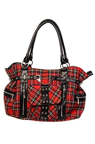 Banned Classic Red Tartan Punk Emo Handcuff Handbag Hand Bag
