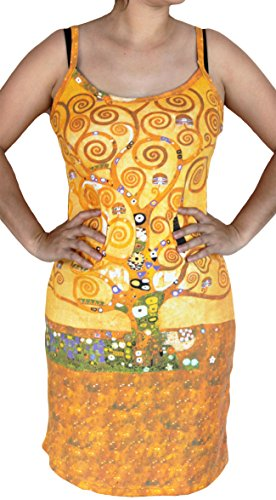 RaanPahMuang Brand Gustav Klimt The Tree Of Life Spaghetti Strap Dress, Medium