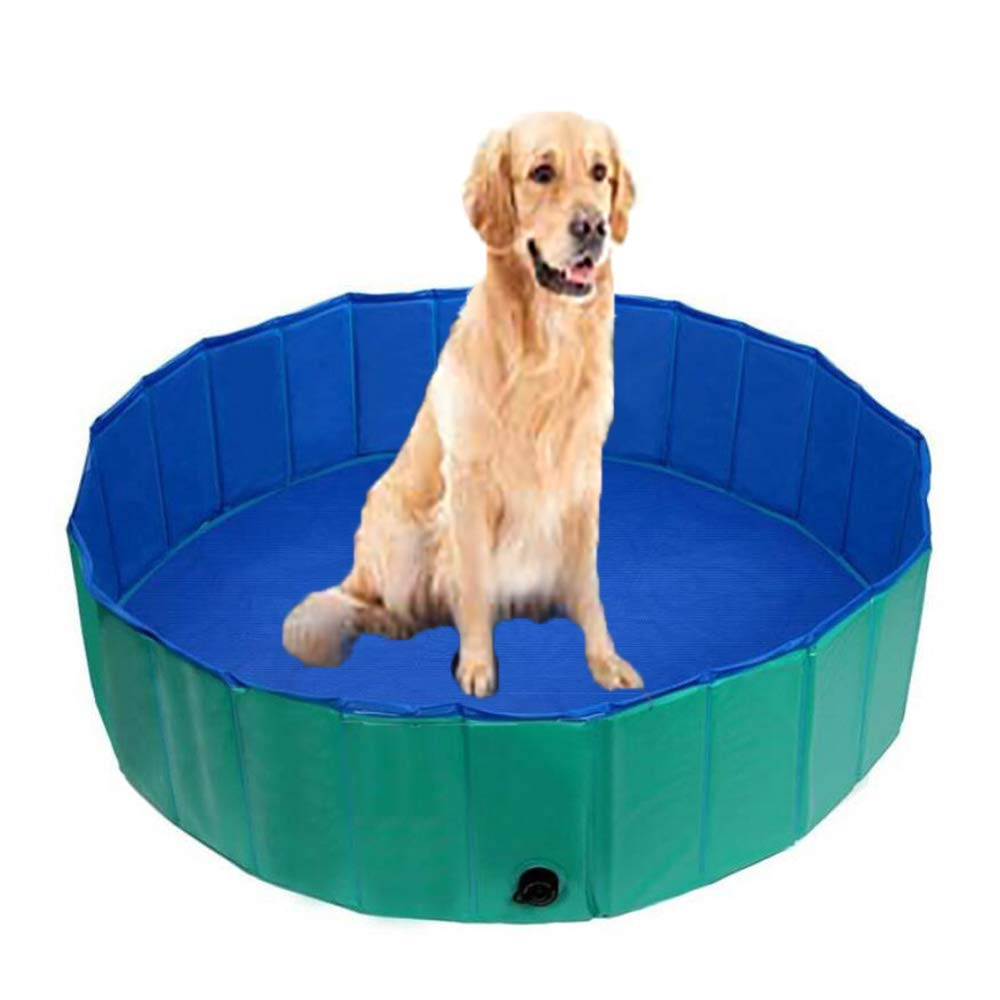 Green Foldable PVC Dog Cat Water Pool Pet Outdoor Swimming Playing Pond Portable Pet Bathtub in Summer,Green