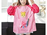 Gelaiken Perfect Cartoon Animal Giraffe Printed Apron Child Kids Painting Baking Cooking Apron Pocket (Pink,Size:M)