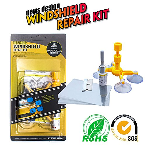 Windshield Repair Tool Do it Yourself Windshield Repair Kit Wind Glass For Chip & Crack,Bulll's-Eyes and Stars (1 Repair Kit)
