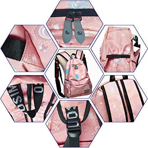IBEILLI Girls School Backpack Cute Casual Fashionable Lightweight 15 Inch Laptop Bag for Teens Girls Students College Bookbag(Grey) (Pink)