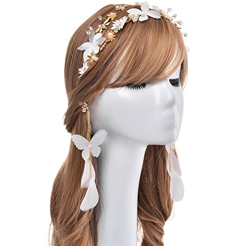 - Bridal Headband Tiara Gold Wedding Double Row Crystal Hair Headdress With Artificial Ivory Pearls, Edelweiss Flowers, and Dragonflys Decor + Butterfly and Feathers Eardrop For Bride Bridesmaid