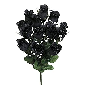Admired By Nature GPB265-BLACK 14 Stems of Blossoms Rose Bush, Black, Piece 33