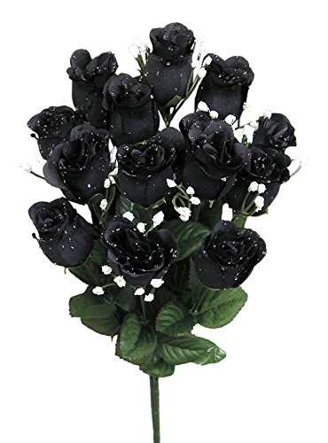 Admired By Nature GPB265-BLACK 14 Stems of Blossoms Rose Bush, Black, Piece