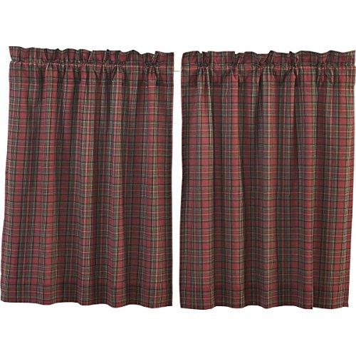 VHC Brands Primitive Rustic & Lodge Kitchen Window Curtains-Tartan Plaid Red Tier Pair, L36 x W36