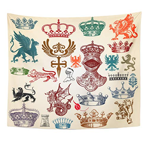 Emvency Tapestry Dragon Crown Retro Crest Vintage Castle Gothic King Medieval Royal Lion Home Decor Wall Hanging for Living Room Bedroom Dorm 50x60 -