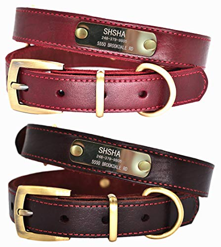 Premium Custom Personalized Genuine Leather Dog Collars with ID Name Plate, Dog Collar with Engraved Name and Phone Number, Durable Soft Dog Collars for Small Medium Large X-Large Dogs (XS, Wine Red) ()
