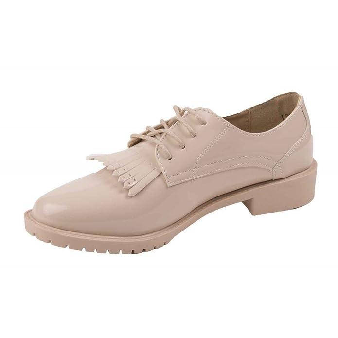 Primtex Derbies Femme Vernis à Franges Semelle intérieure Cuir-  Amazon.fr   Chaussures et Sacs 41ee672f6004