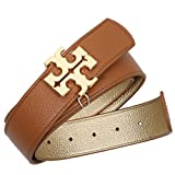 Tory Burch Reversible Belt 1 1/2'' Leather TB Logo Bark Gold (S)