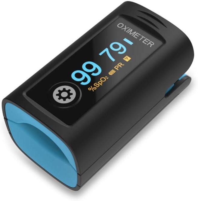 Oxímetro de pulso de debo para Adultos y Niños, Medidor saturacion oxigeno, Saturometro de oxigeno con Alarma de Niveles Bajos de Sp02 y de Frecuencia Cardíaca, Oxímetro de sangre con Pantalla OLED