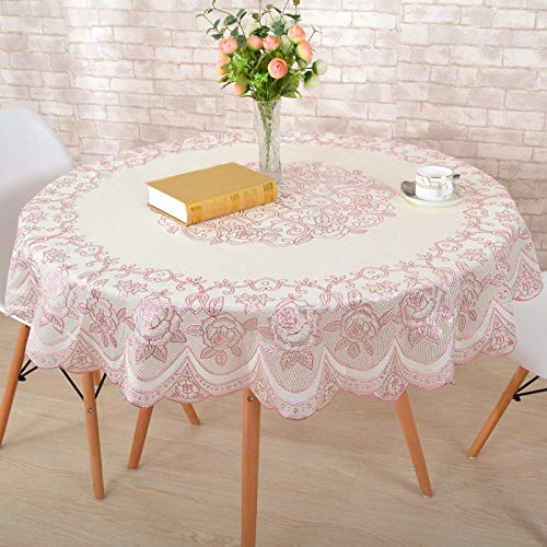 - Bronzing Round European Coffee Table Tablecloth Pink Rose Diameter 180cm for 110150 Round Table