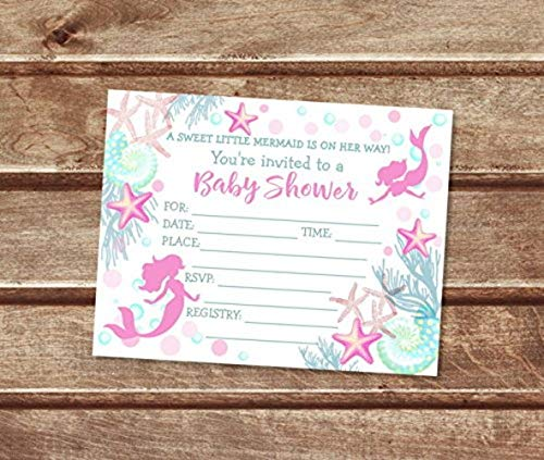 Mermaid Baby Shower Fill In Blank Invitations, Flat Cards, Set Of 20, Pink And Teal Mermaid Baby Shower Invitations With Envelopes, Flat Card Invitations, Seashells And Starfish, 4.25