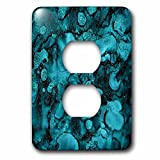 3dRose Uta Naumann Faux Glitter Pattern - Luxury Ink Malachite Ombre Gem Marble Glitter Metallic Faux Print - Light Switch Covers - 2 plug outlet cover (lsp_269024_6)