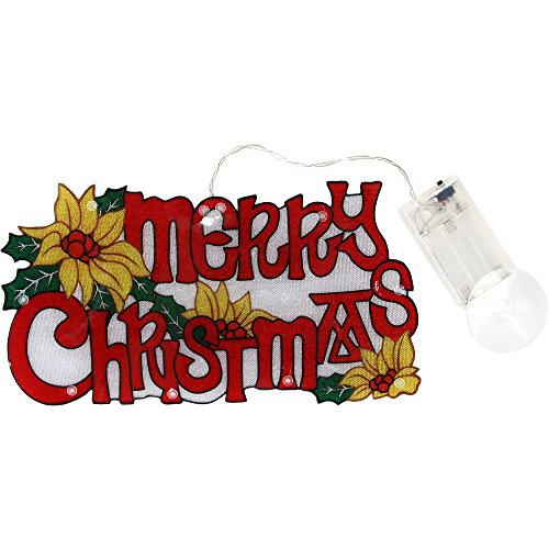 Merry Christmas Lighted Sign with Flowers