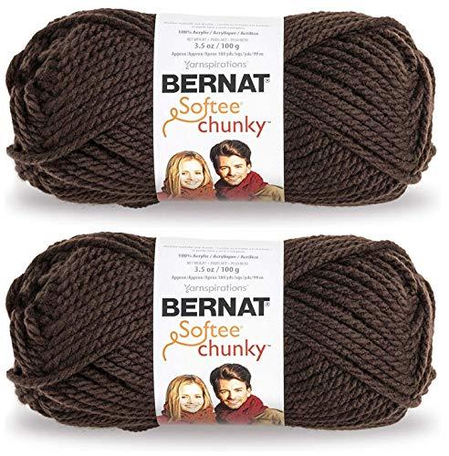 2-Pack - Bernat Softee Chunky Yarn, Dark Taupe, Single Ball