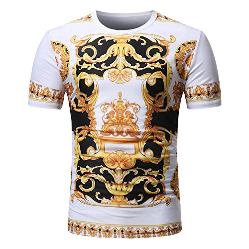 Nikuya Men Summer Casual African Print Hipster Hip Hop Sleeve T-Shirt Top Blouse (M, -