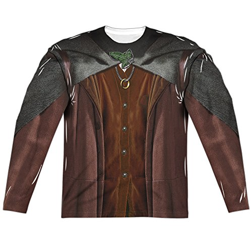 Lord Of The Rings Frodo Costume (Front/Back Print) Mens Long Sleeve Sublimation Shirt (White, (2)