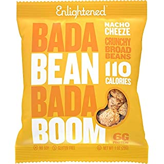 Bada Bean Bada Boom Plant-based Protein, Gluten Free, Vegan, Non-GMO, Soy Free, Kosher, Roasted Broad Fava Bean Snacks, 110 Calories per Bag, Nacho Cheeze, 1 Ounce (24 Count)