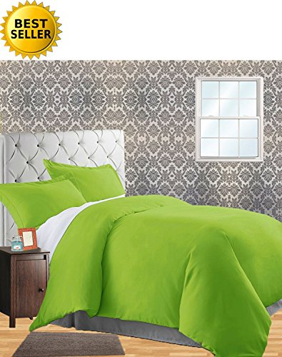 Celine LinenWrinkle & Fade Resistant 2-Piece Duvet Cover Set - Protects and Covers Your Comforter/Duvet Insert, 1500 Series Luxurious 100% Hypoallergenic - Silky Soft, Twin/Twin XL, Lime ()