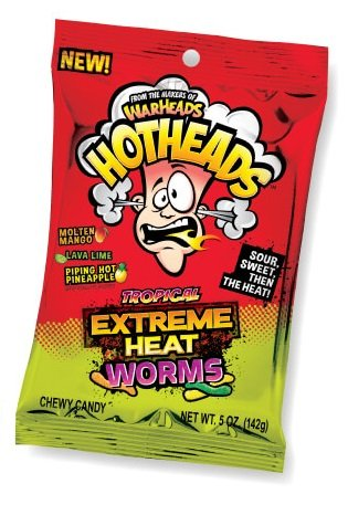 WarHeads Hotheads Tropical Extreme Heat Gummy Worms 5 -Ounce Packs: 12-Piece Box