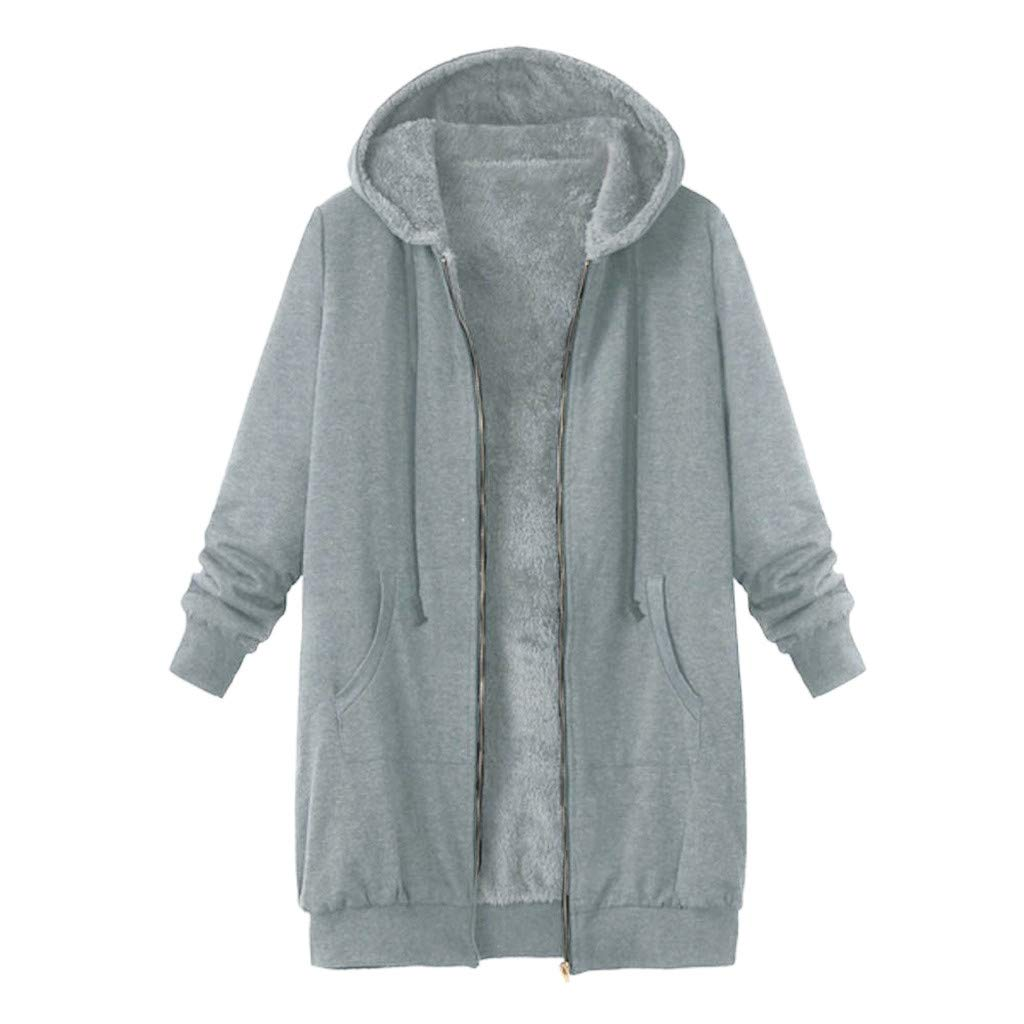 ZOMUSAR Women's Coat, Plus Size Womens Winter Warm Outwear Solid Hooded Pockets Vintage Coats by ZOMUSAR