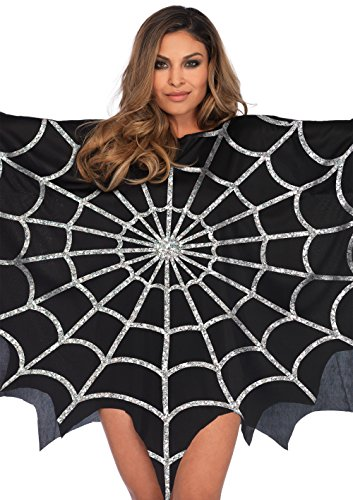Leg Avenue Women's Glitter Web Poncho, Black, One Sizes Fit Most