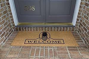"""DeCoir 24""""x 60"""" 'piña Welcome' tamaño grande fibra de coco doble puerta Mat, 24""""x 60/grande"""