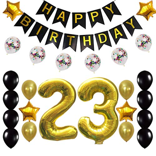 23rd Birthday Decorations Party Supplies Happy 23rd Birthday Confetti Balloons Banner and 23 Number Sets for 23 Years Old Party(Gold)]()