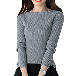 Dissa F5041 Women Loose Warm Sweater Round Neck Long Sleeve 100 Cashmere Sweater Pullover Grey S Uk 6