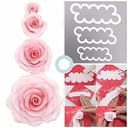 Pindia Set Of 3 Cake Decorating Gumpaste Sugar Craft Easiest Rose Ever Cutter Fondant Cookie�