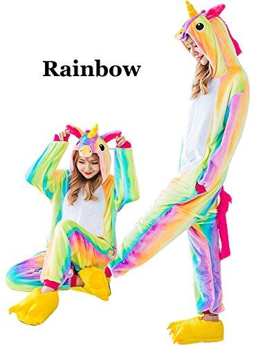 Couples Cosplay Costumes (MiFier Unisex Adults Animal Pajamas Unicorn Cosplay Costume Kigurumi Onesie (M (US10-16), Rainbow))