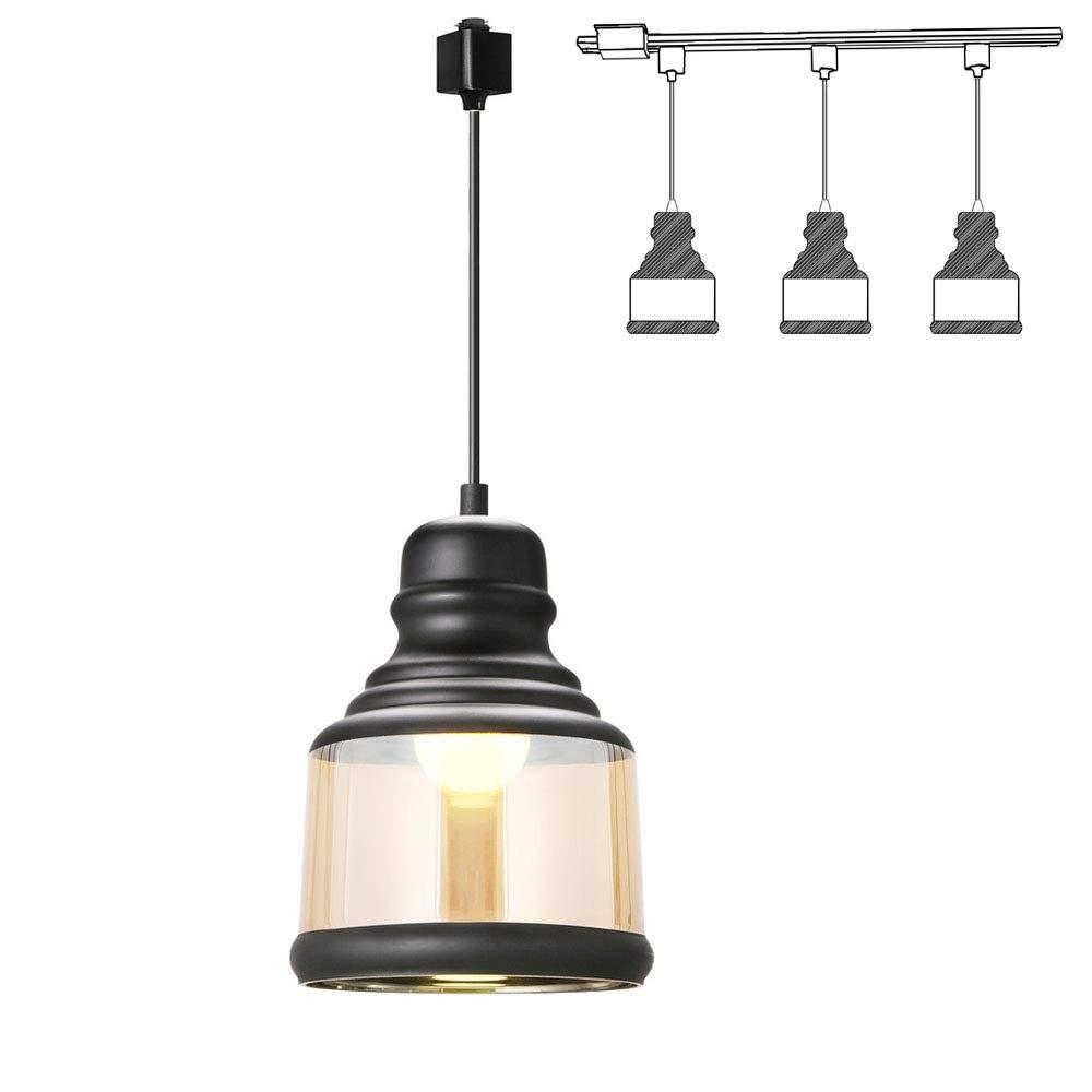 Kiven H Track Lighting Pendant Light,with 1 Light Painted Finish Traditional Glass Shade Jar,1Light