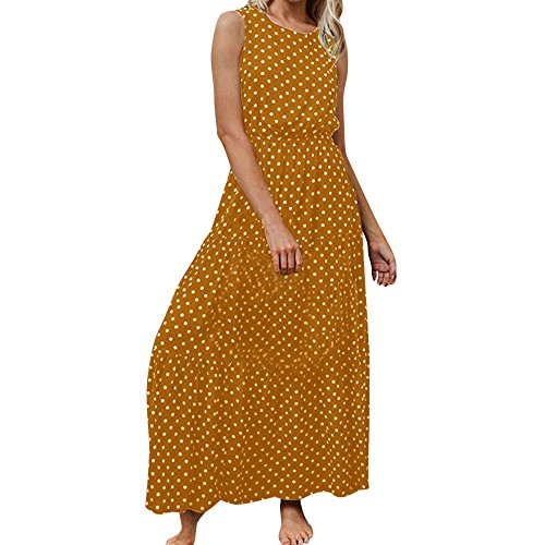 Dot Sleeveless Long Dress Women,Mosunx Clothing a Line O-Neck Contraction Waist Maxi Pleated Elegant Dresses for Wedding Party Prom Special Occasion (X-Large, Yellow)