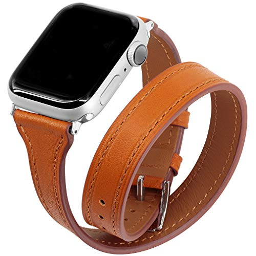 Falandi Compatible for Apple Watch Band 44mm Series 4, Double Genuine Leather iPhone Wristband Tour Women Girls Bracelet Replacement Strap for iWatch 42mm, Series 3 Series 2 Series 1 (Brown, 44/42mm)