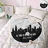 Zara Henry Chicago Skyline Plush Throw Blanket, American Town Famous Urban Design in Black I Love Chicago Architecture Christmas Deer Decor (Black and White, 45x60 Inch)