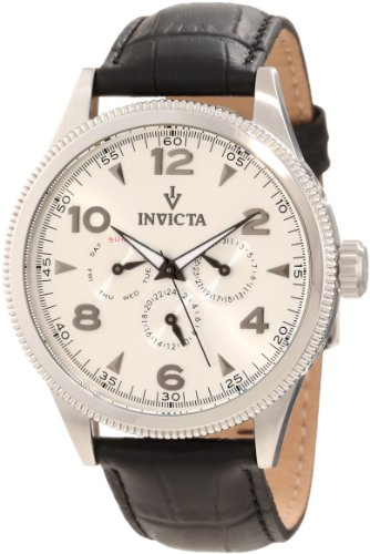 Invicta-Mens-12202-Vintage-Silver-Dial-Black-Leather-Watch