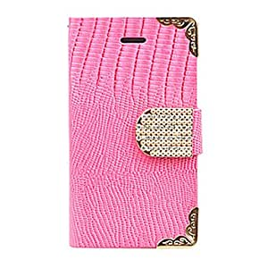 GJY Joyland Gold Lace Zircon Crocodile Stripe Leather Case for iPhone 5(Assorted Color)