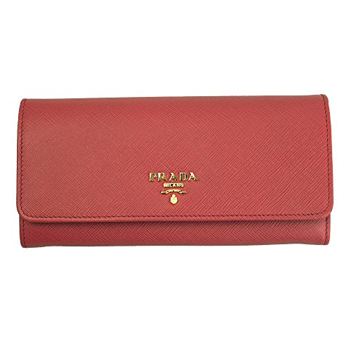 Prada Saffiano Flap Wallet with Badge Holder - Red Prada
