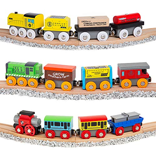 Orbrium Toys 12 Pcs Wooden Engines & Train Cars Collection + Dual-use Wooden Box Cover/Tunnel Wooden Train Set Compatible with Thomas Wooden Railway, Thomas the Tank Engine, Brio