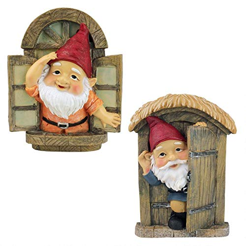 Design Toscano the Knothole Gnomes Garden Welcome Tree Sculpture Window Gnome