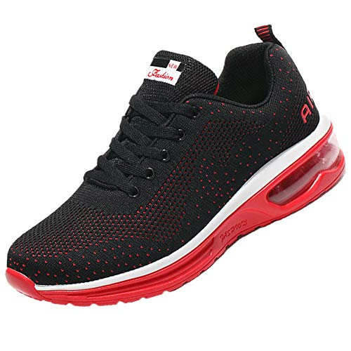 QTMS Mens Lightweight Athletic Running Shoes Breathable Sport Air Fitness Outdoor Gym Jogging Women Sneakers 626-Black&Red-41(8.5)