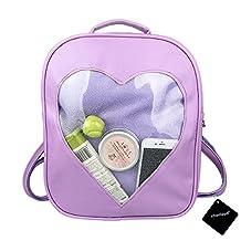 xhorizon TM FL1 Candy Leather Backpack Plastic Transparent Heart Beach Girls School Bag (Purple)