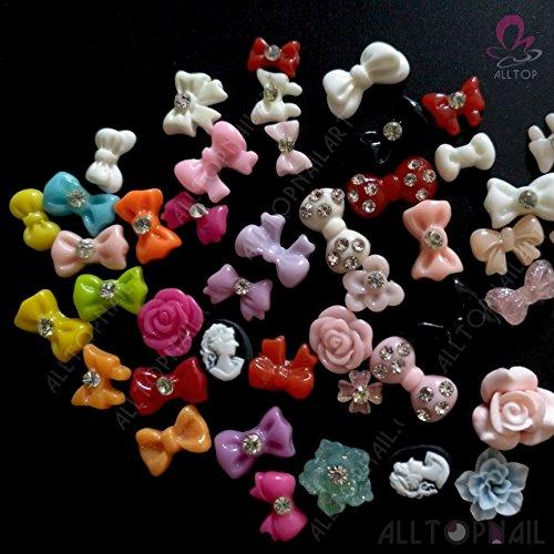 ALLTOP 3D Nail Decoration MIX Resin Nail Art Rhinestons Coulorful 300pcs/lot Flower,Bows,Heart,Rhinestone,Fun -