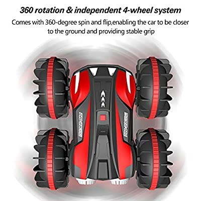 Waterproof Remote Control Car Boat 4WD 6CH 2.4G All Terrain RC Vehicle 1/16 Scale Double Sides Stunt Vehicle with 360 Degree Spins and Flips by FREE TO FLY: Toys & Games