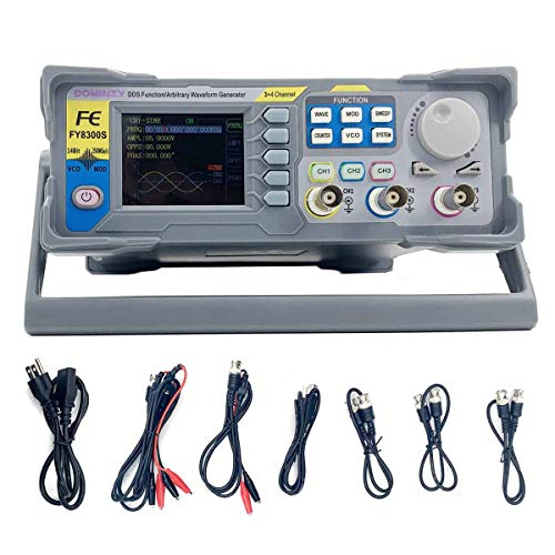 DOMINTY Function Generator AC100-240V FY8300 60MHz Three Channel DDS Function Arbitrary Waveform Signal Generator Frequency Meter 250MSa/s Sine Square/Triangle/Pulse/Sawtooth Wave/Staircase Wave